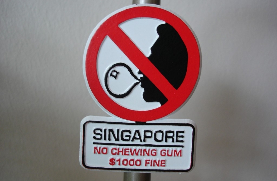 Illegal to chew gum in Singapore