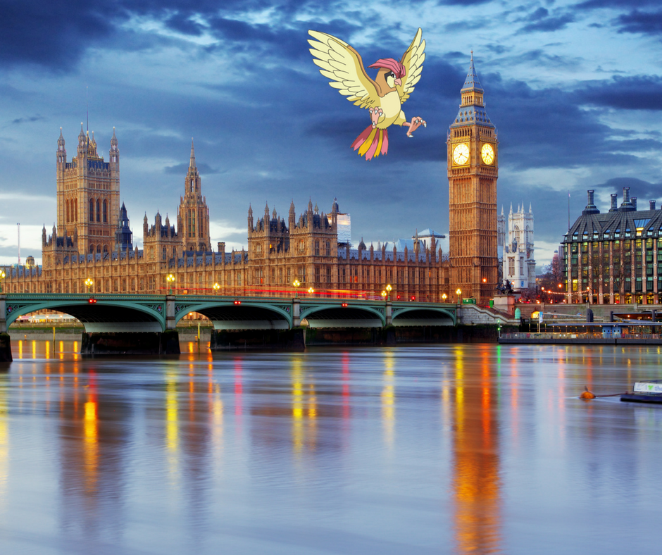 Pidgeotto at the Big Ben in UK