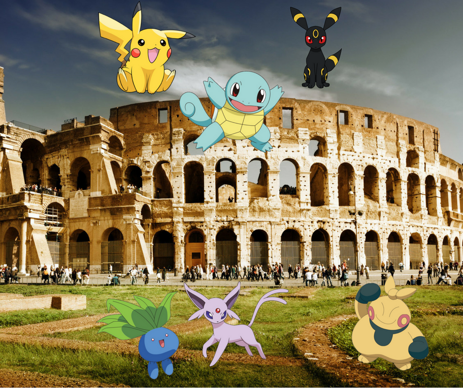 Pikachu, Squirtle, and few other Pokemons near the Colosseum in Rome