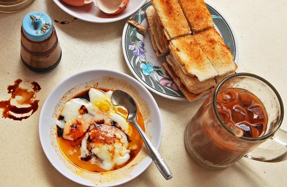Kaya toast with eggs and Kopi