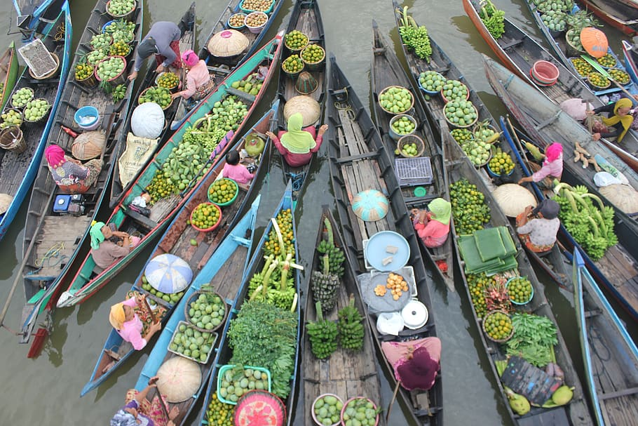View of floating market in Pattaya