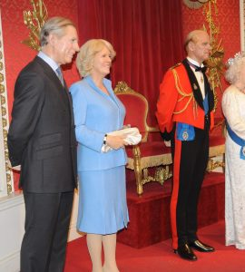 Wax statues of the Royal family in Madame Tussauds, London.