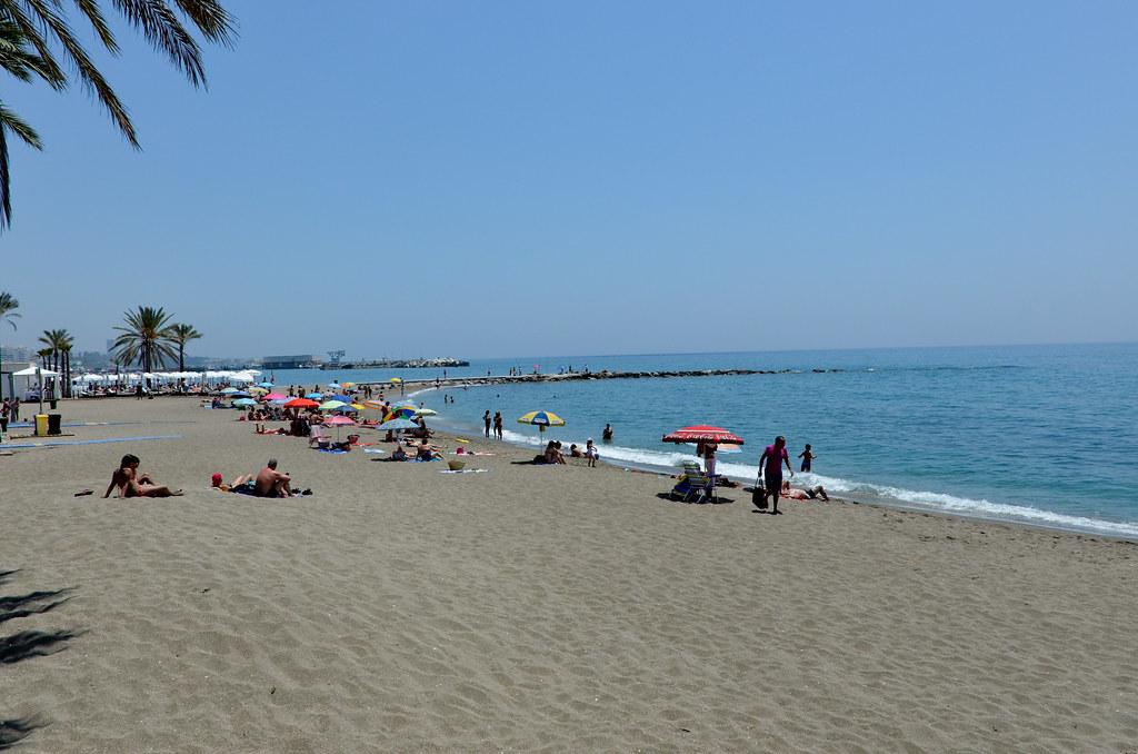People chilling in Mar Bella Beach
