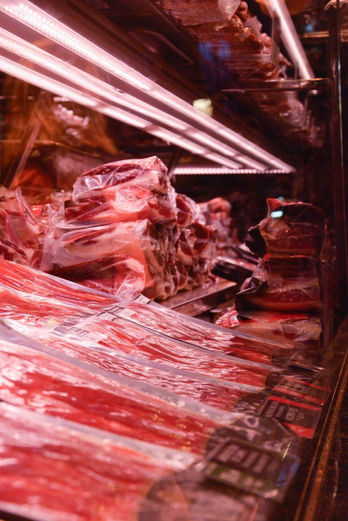 Stacks of Hams in the biggest market in Barcelona