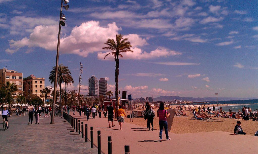 A busy Barceloneta Beach, one of the best beaches in Barcelona