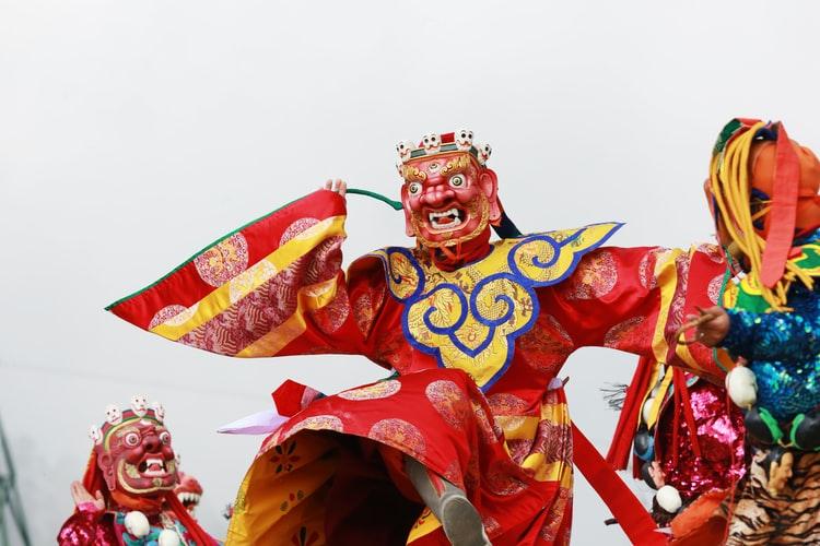Traditional bhutanese doll dance