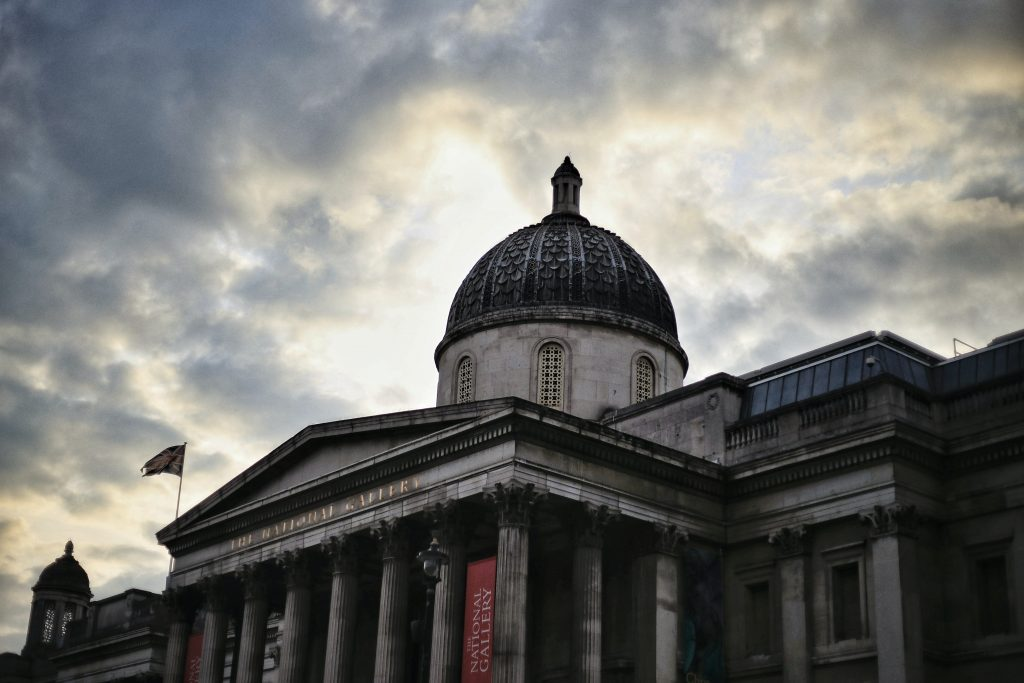 The National Gallery in London during the sunset