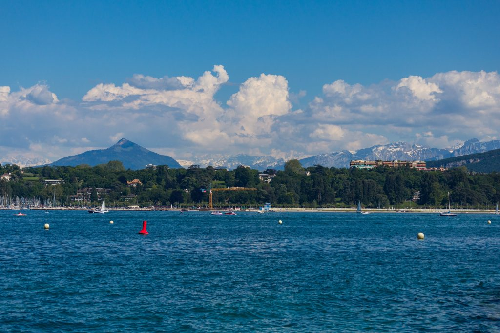 Lake geneva with a scenic background 3