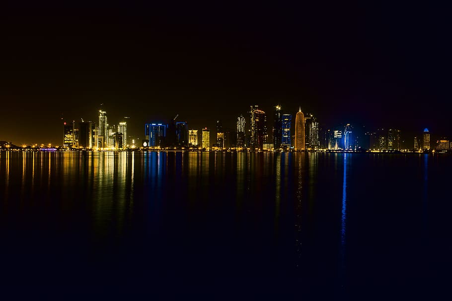 Dubai night view from a Dhow Cruise