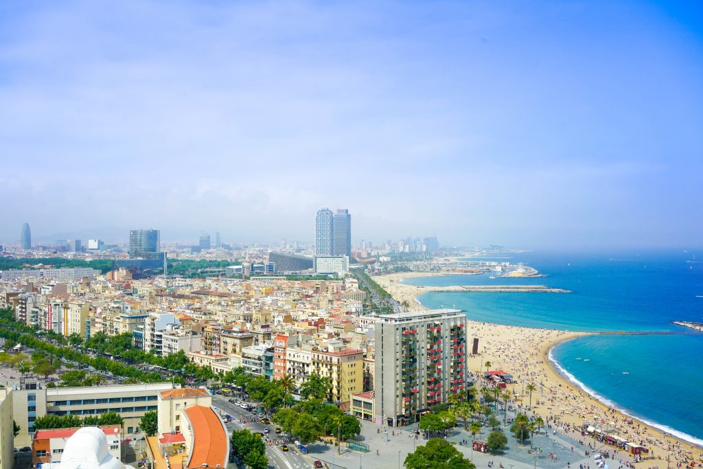 Aerial view of the Beaches in Barcelona in the coastline