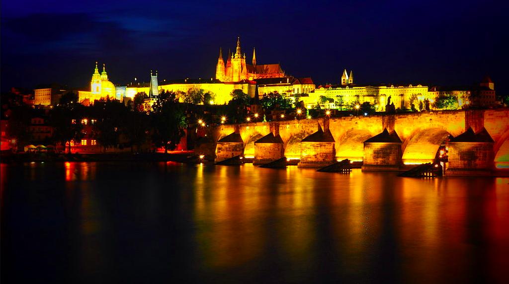 Charles bridge Prague at night