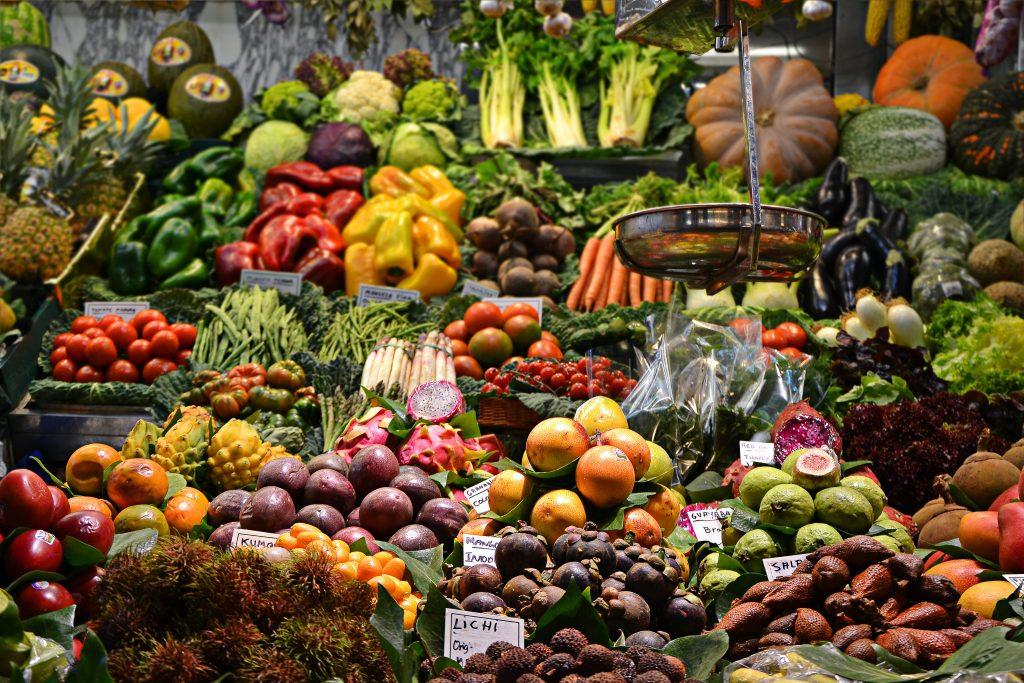 Fresh fruits and vegatables in La Boqueria,the biggest market in Barcelona