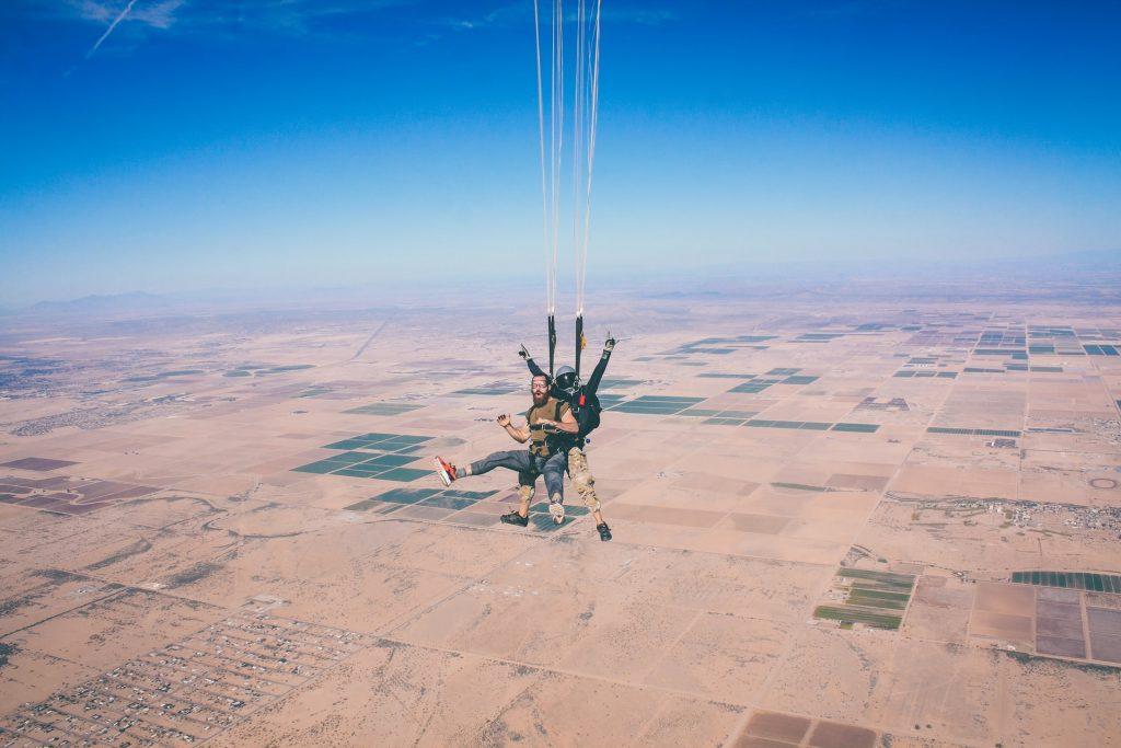 Skydiving in the desert.