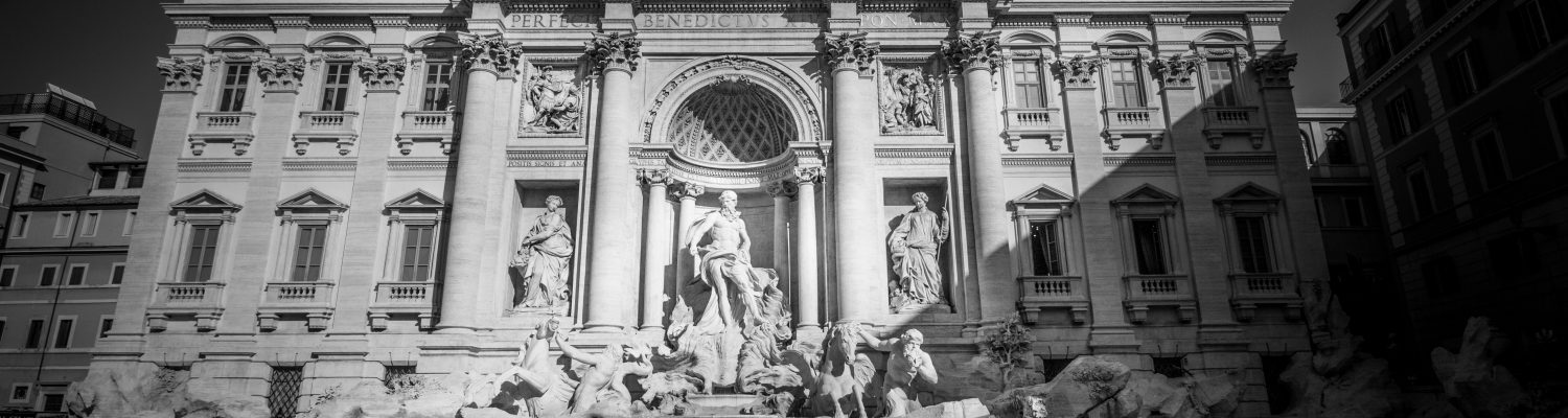Monochrome of the Trevi Fountain in Rome