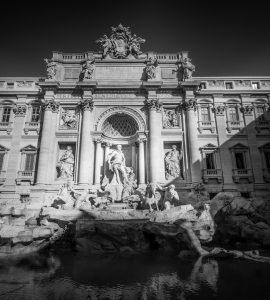 Monochrome of the Trevi Fountain in Rome