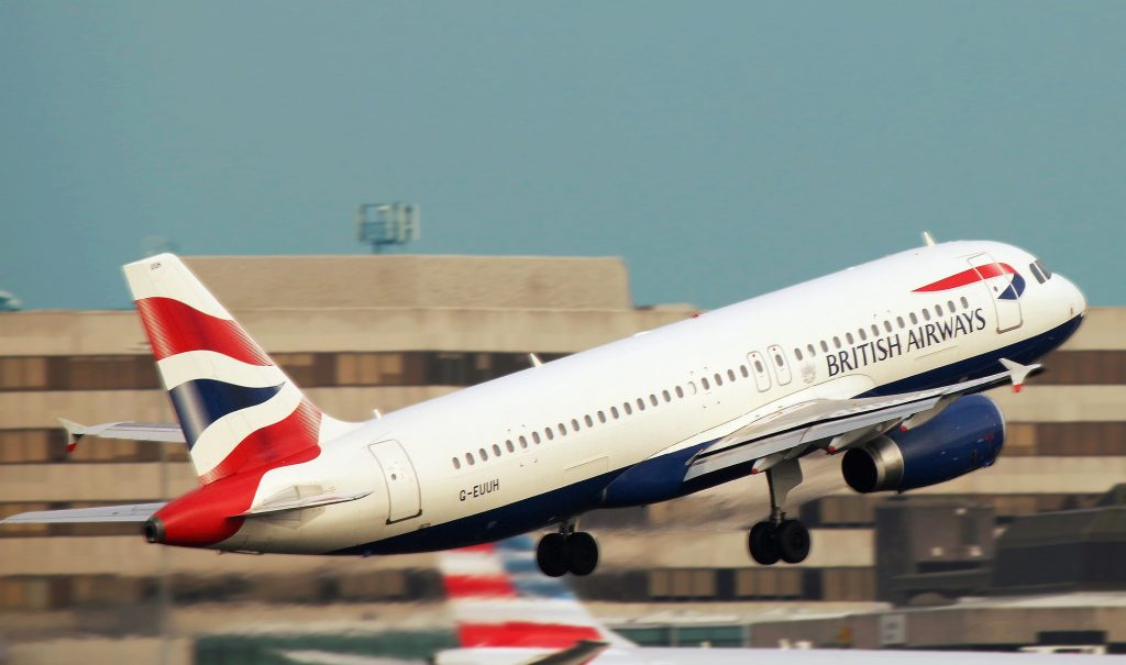 A flight of British Airways taking off