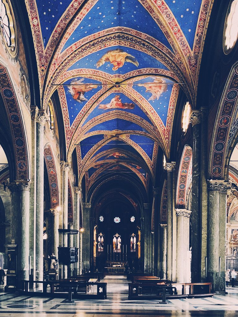 The front view of the altar in Santa Maria Sopra Minerva, one of the best churches in Rome