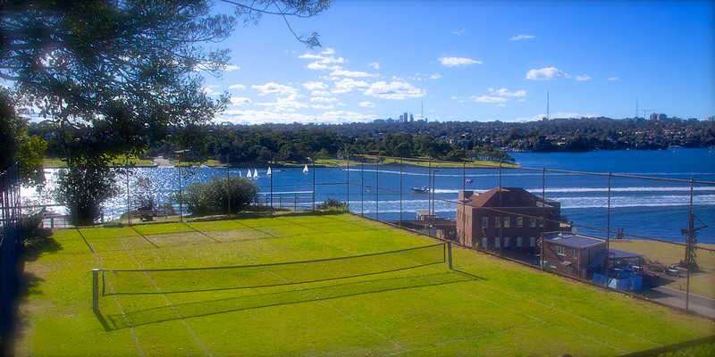 Tennis court at Cockatoo Island