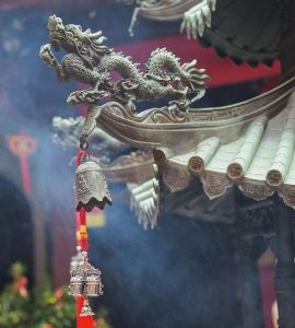 A pictures of dragons in the architecture of the temple