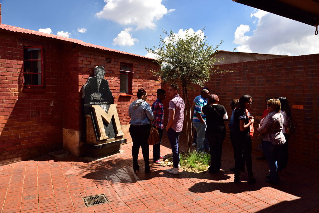 A picture of people at the Mandela House in Soweto