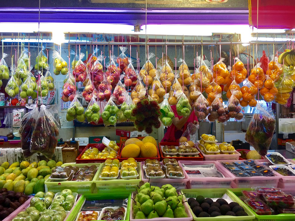 A fruit stall at the Tiong Bahru market in Singapore