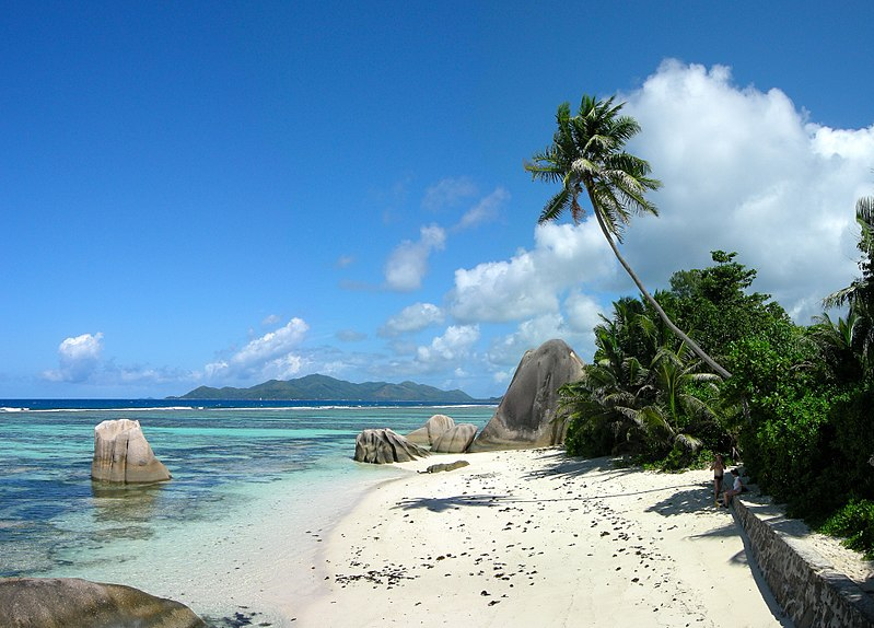 white sand beach in Anse Source d'Argent