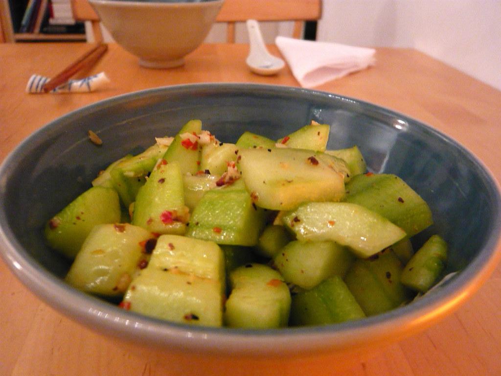A cucumber salad in a bowl