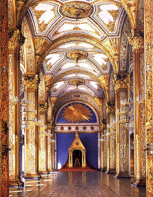 Then newly-decorated Hall of St Andrew in the Grand Kremlin Palace.