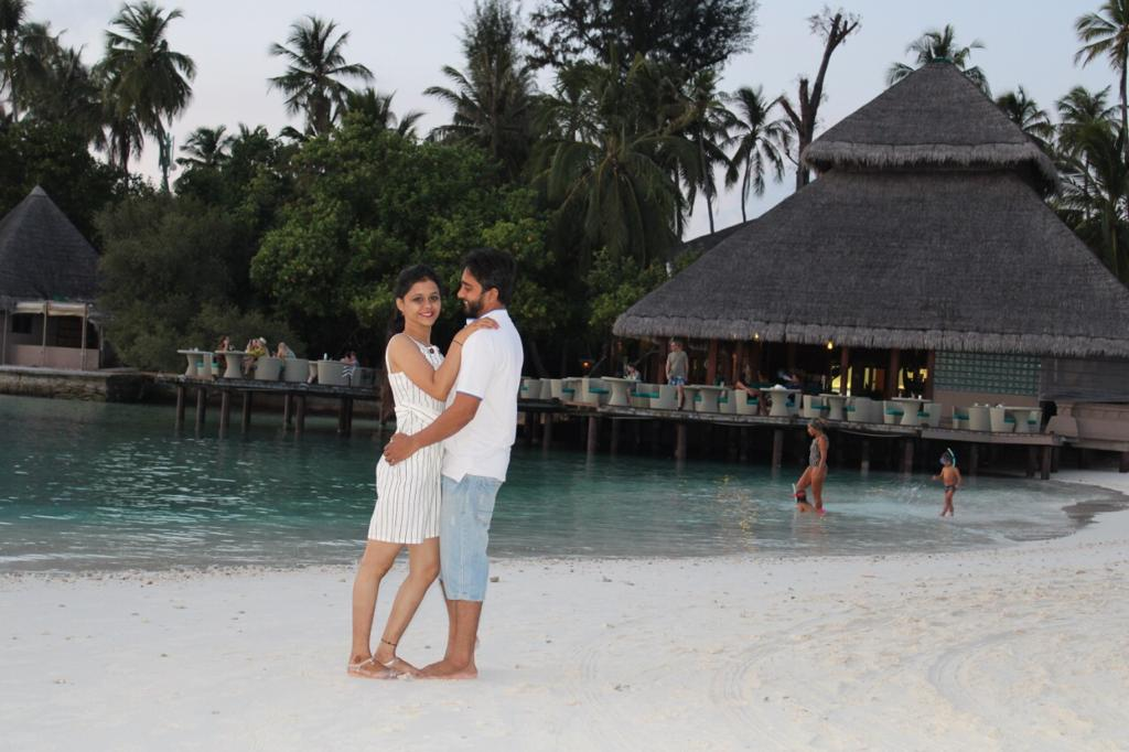 A honeymoon couple at Maldives