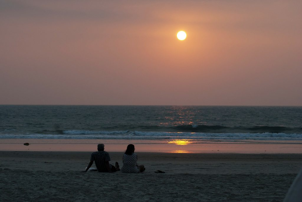 Sunset at the goa beach in India