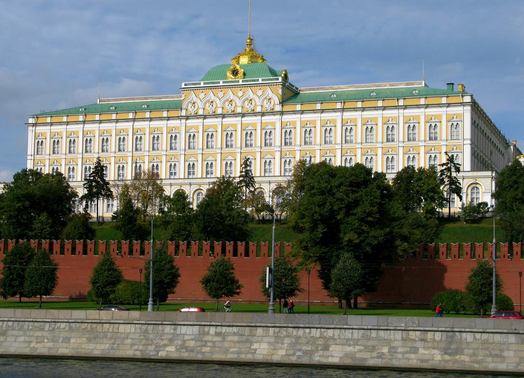 The Grand Kremlin palace facade viewed from Moskva river
