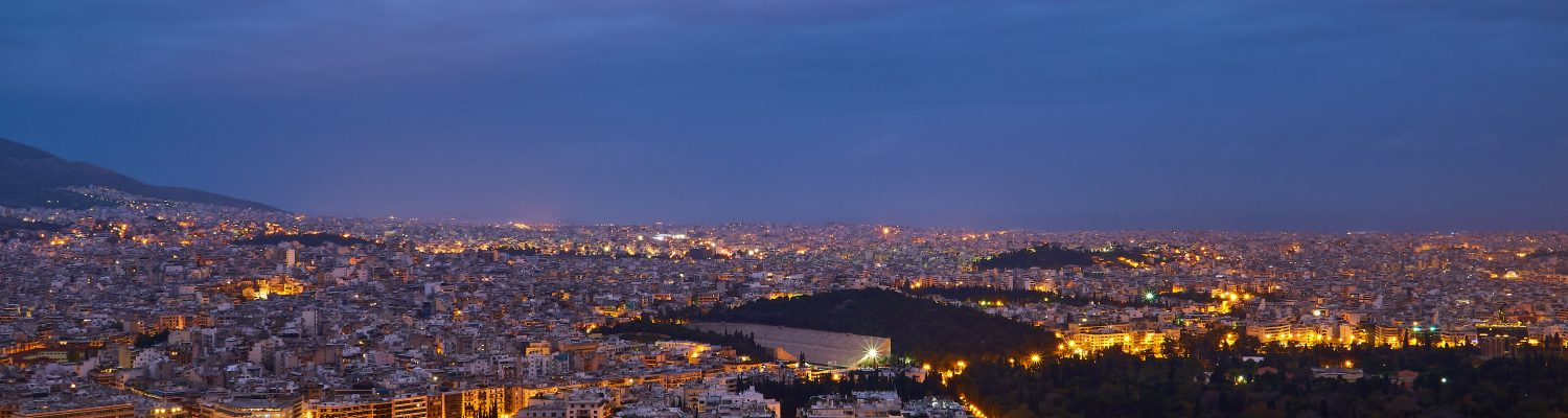 View of Athens at night