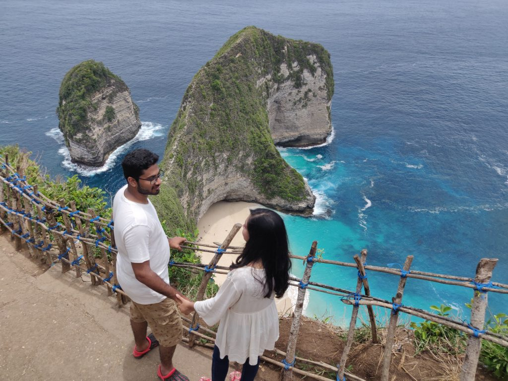 A couple posing near the beach in Bali