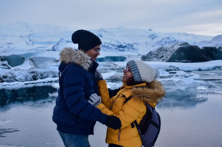 A picture of a couple in Iceland
