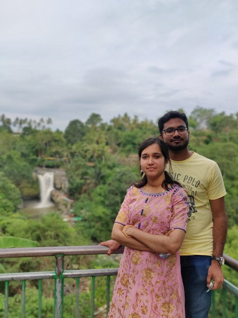 A couple posing on their first international trip to Bali