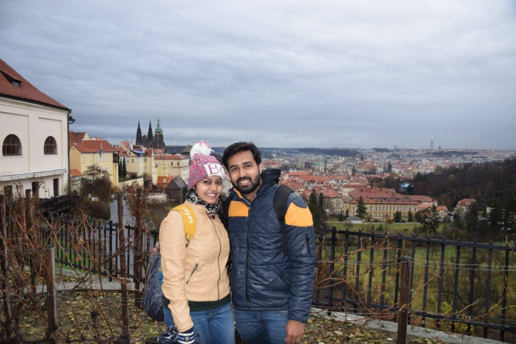 A happy honeymoon couple in Prague in Central Europe