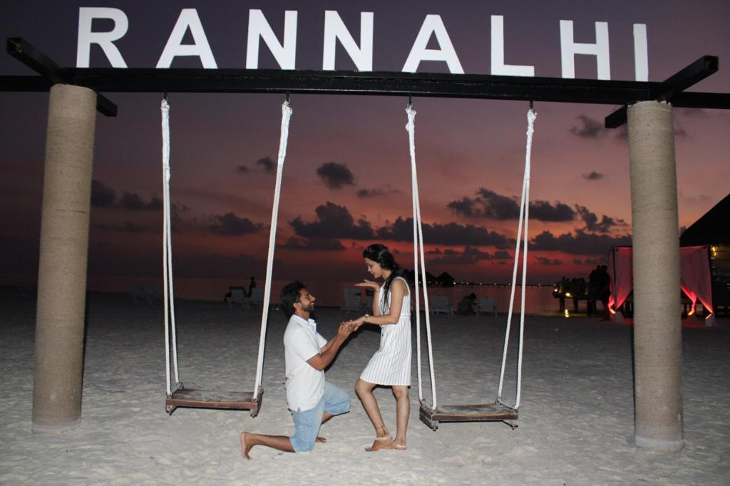 A couple spending honeymoon in Maldives