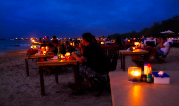 Sunset dinner at Jimbaran Bay