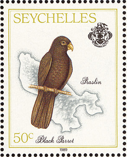 Seychelles Stamp of Black Parrot