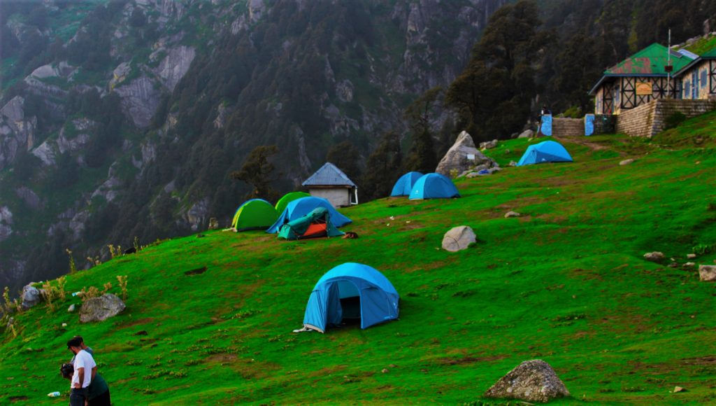 Camping on the way to Triund Trek one of the best places to visit near Dharamshala