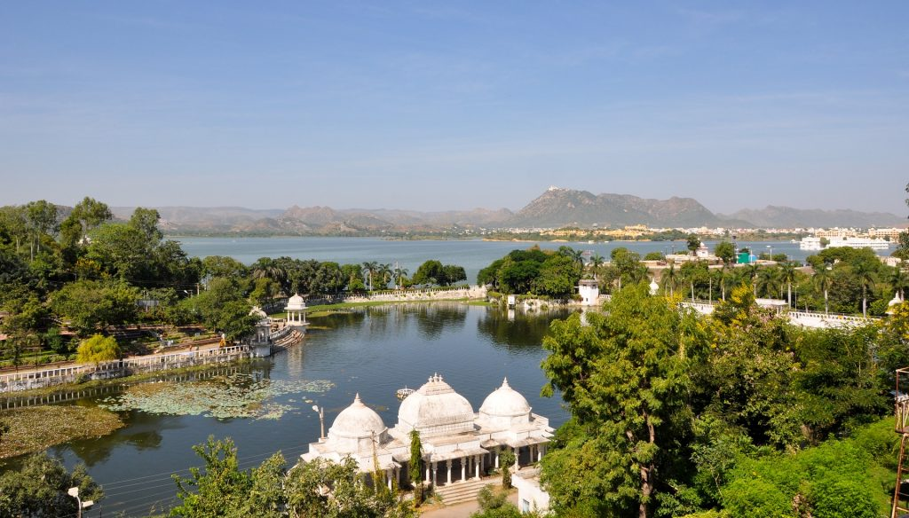 Scenic beautiful view of Udaipur city in India