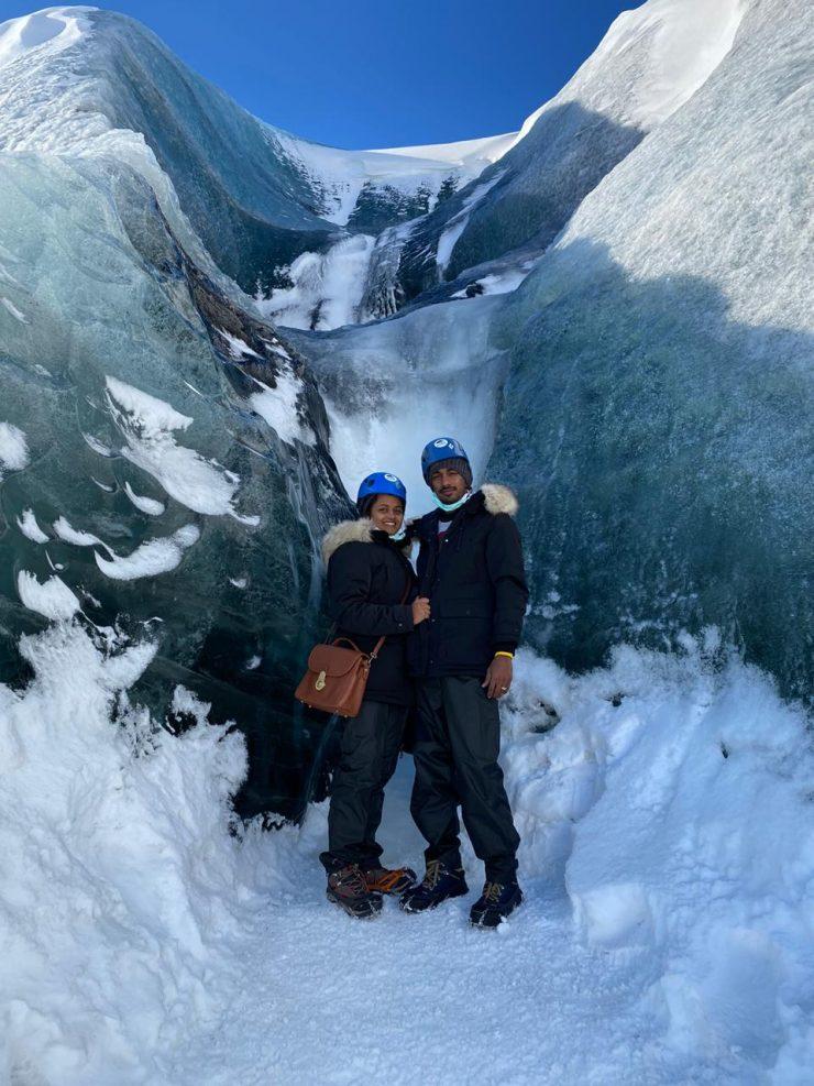 Manoj and Arul Kiruthika in Hofn, Iceland