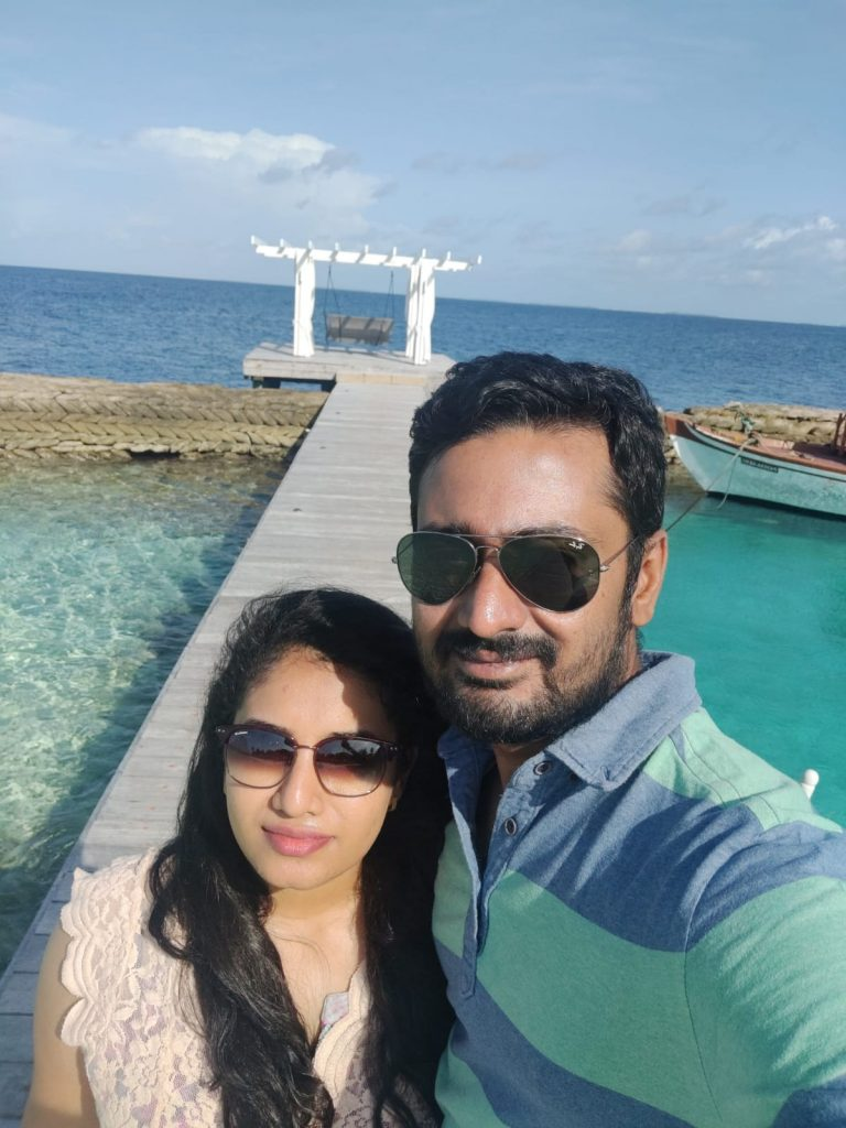 Outside the water villa on our trip to Maldives