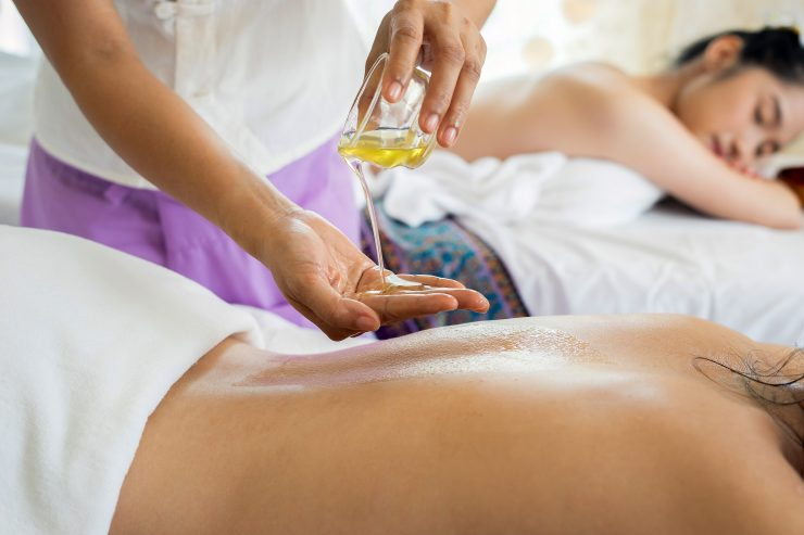 Thai massage with essential oil