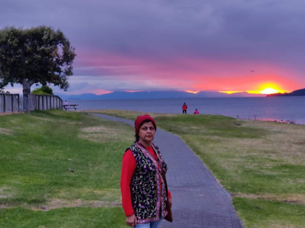 A clip of my wife with sunset background