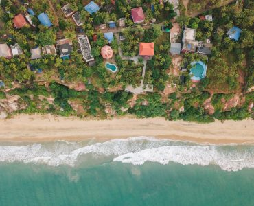 Aerial view of a beach in Kerala