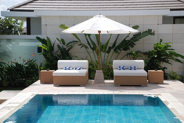 Relax at a pool in Bali
