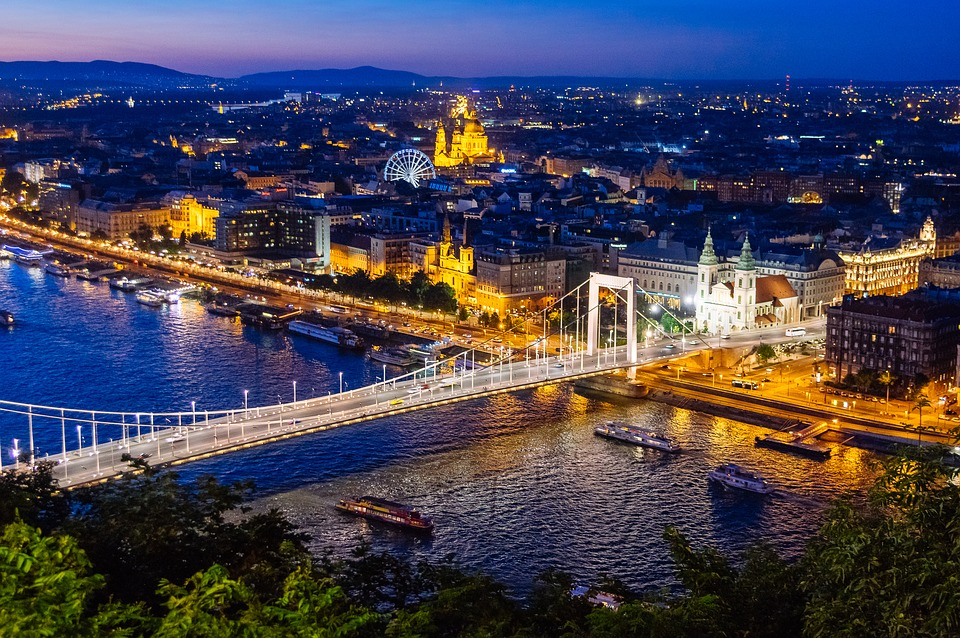 The night view of Budapest