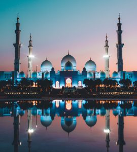 A picturesque night view of the Grand Mosque in Abu Dhabi