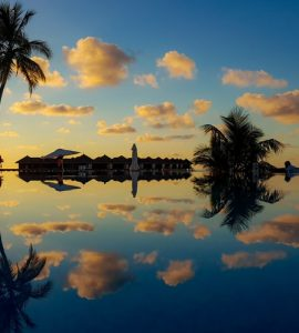 Evening sunset view of Maldives